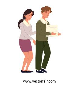 office woman with employee