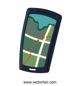 smartphone with gps map