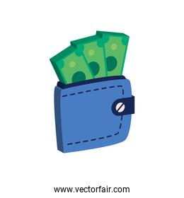 wallet with money isometric