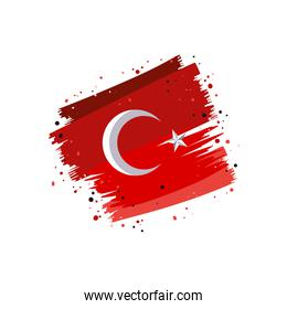 brush strokes painted with Turkey flag