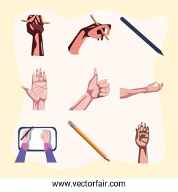collection of left hand