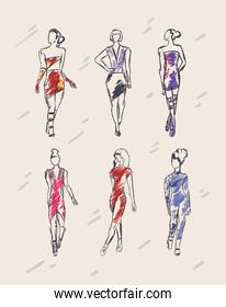 set of girls with fashion clothes