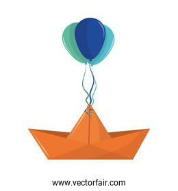 paper boat with balloons