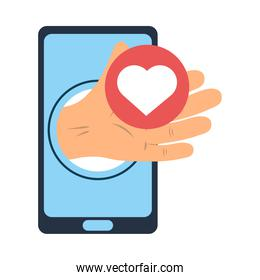 smartphone hand with heart