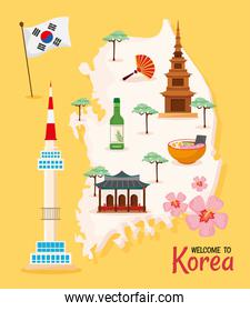 Korean culture poster icons