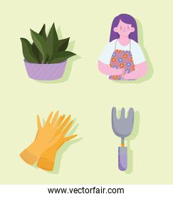 woman and garden tools