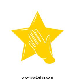 yellow star with a left hand