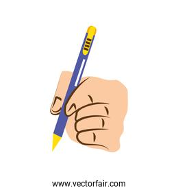 left hand with pen
