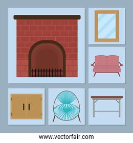 fireplace and furniture