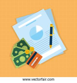 financial documents and money