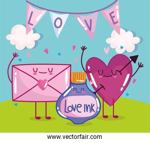 cute love heart and envelope