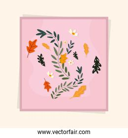 pink frame with flowers