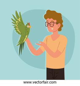 man with a parrot