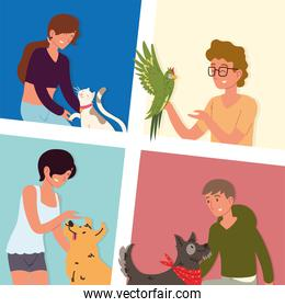 set of people with pets