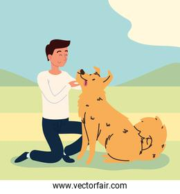 man playing with a dog