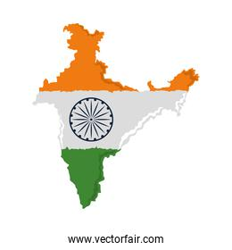 indian flag in the map