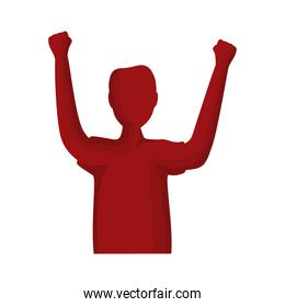 man celebrating red silhouette