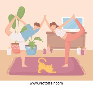 couple making yoga at home