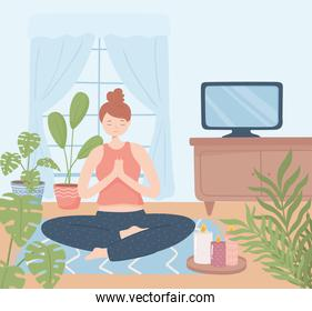 woman yoga relaxing in home