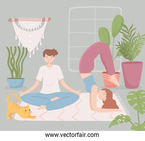 couple in home doing yoga