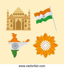 indian flags and famous monument