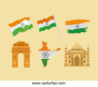 indian flags and monuments