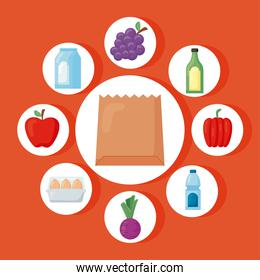 groceries icons around