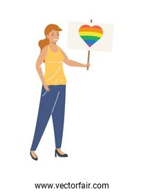 woman with lgtbi banner