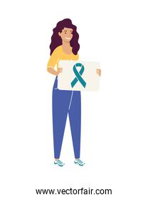 woman with ribbon campaign