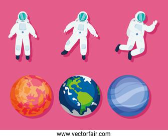 planets and astronauts