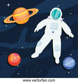 planets and astronaut
