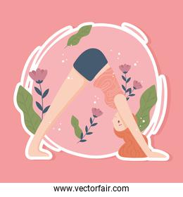 sporty woman practicing yoga