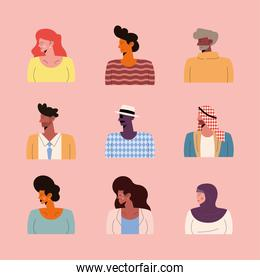 nine persons of different races