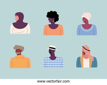 persons of six different races