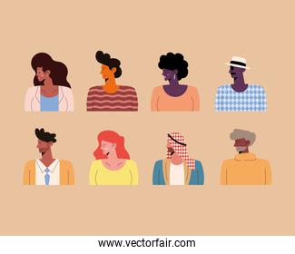 eight persons of different races