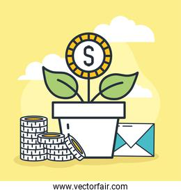flower with money
