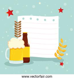 beer with sheet of paper