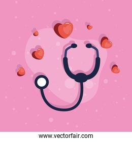 stethoscope with hearts