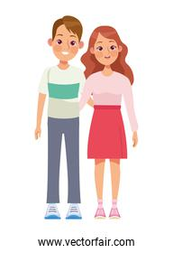 young lovers couple characters