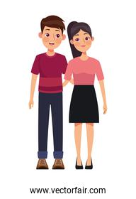 young couple standing characters