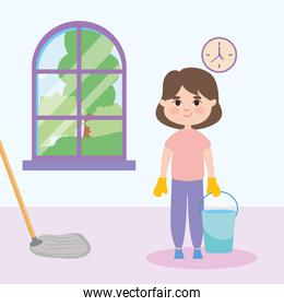 girl cleaning and mopping