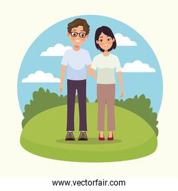 young couple outdoor scene