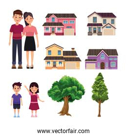 four houses and family
