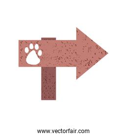 signpost with pets paw
