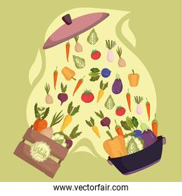 vegetables in pot and box