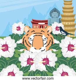 korean tiger and flowers
