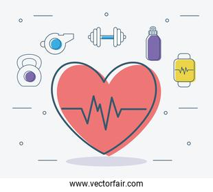 heart and fitness items