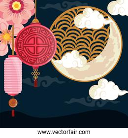 lanterns and chinese moon