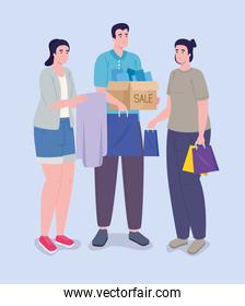 three shoppers characters