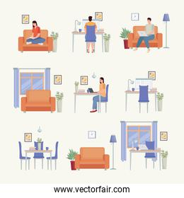 icons for people working at home
